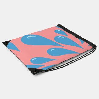 Water Droplets (Pink BG) Drawstring Bag