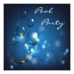 Water Droplets Pool Party 5.25x5.25 Square Paper Invitation Card