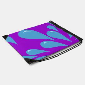 Water Droplets (Purple BG) Drawstring Backpack