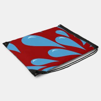 Water Droplets (Red BG) Drawstring Bag