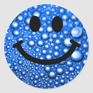 Water droplets smiley classic round sticker