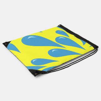 Water Droplets (Yellow BG) Drawstring Bag