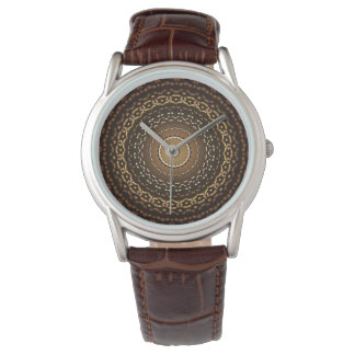 Water Droplets Your Custom Classic Brown Leather Wristwatch