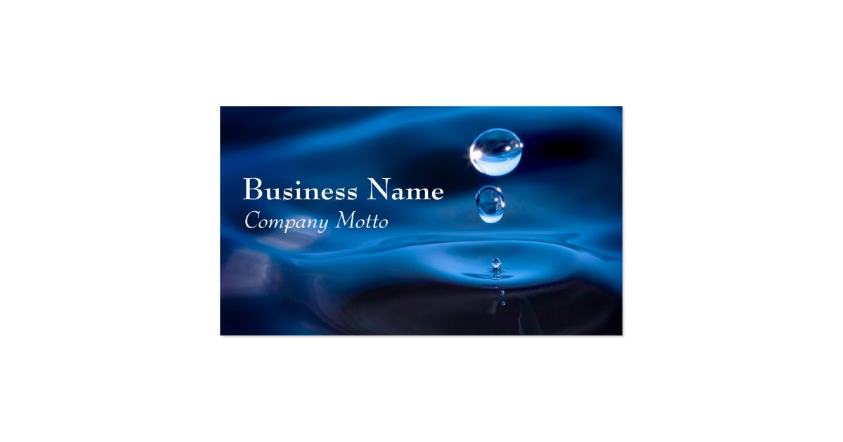 Water drops blue generic business card zazzle for Generic business cards