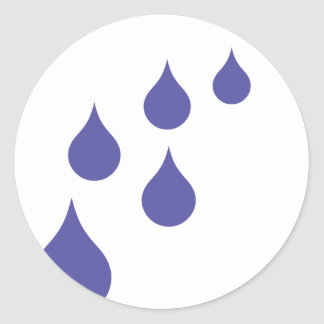water drops classic round sticker