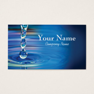 Water drops flowing into pool business card