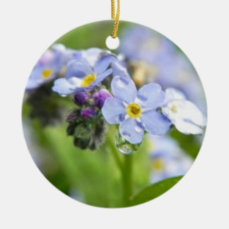 Water Drops - Forget Me Nots Christmas Tree Ornaments