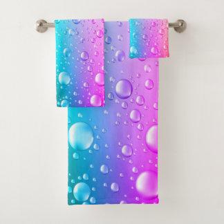 Water Drops Hot Pink & Aqua Blue Gradient Bath Towel Set
