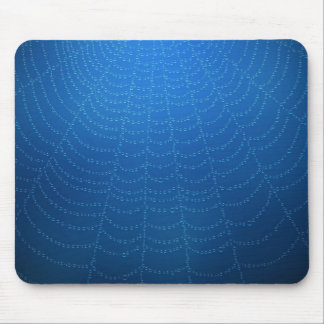 Water drops on a spider web (Blue) Mouse Pad