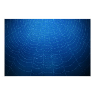 Water drops on a spider web (Blue) Poster