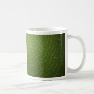 Water drops on a spider  web (Green) Coffee Mug