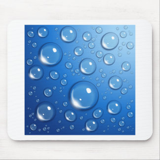 Water drops on blue mousepad