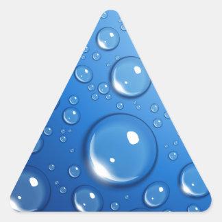 Water drops on blue triangle sticker
