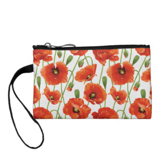 water drops on cute poppies coin purses