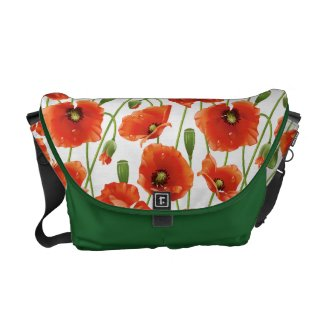water drops on cute poppies commuter bag