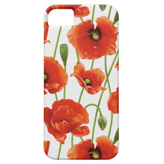 water drops on cute poppies iPhone SE/5/5s case