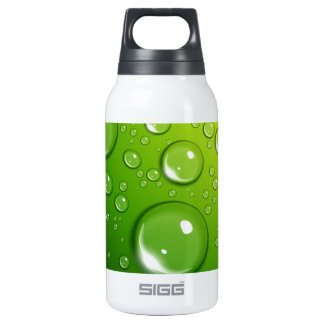Water drops on green insulated water bottle