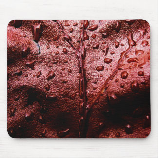 Water Drops on Red Leaf Mousepads