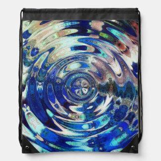 WATER Element Ripple Pattern Drawstring Backpacks
