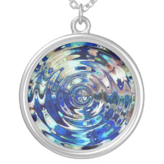 WATER Element Ripple Pattern Round Pendant Necklace