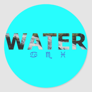 Water Element with Zodiac Signs Classic Round Sticker