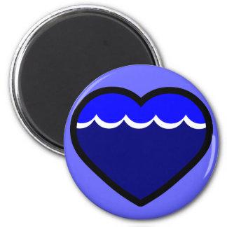 Water Elemental Heart 2 Inch Round Magnet