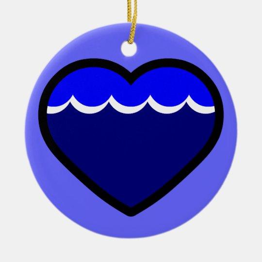 Water Elemental Heart Ceramic Ornament