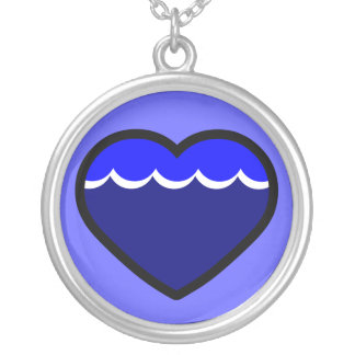 Water Elemental Heart Round Pendant Necklace