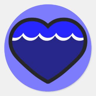 Water Elemental Heart Round Sticker