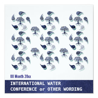 Water environment energy conference corporate 5.25x5.25 square paper invitation card