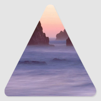 Water Evening Sea Stacks Ecola State Park Triangle Sticker