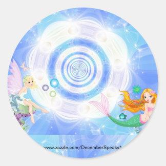 Water fairy & siren classic round sticker