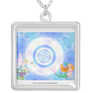 Water fairy & siren square pendant necklace