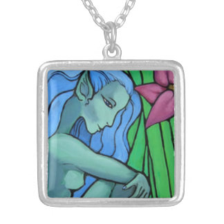 Water Fairy Square Pendant Necklace