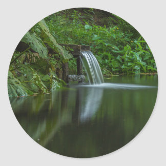 Water fall in the Green Lake Classic Round Sticker