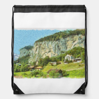 Water falling off a cliff drawstring bag