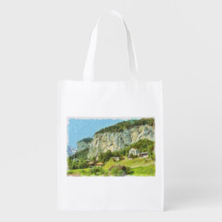 Water falling off a cliff reusable grocery bag