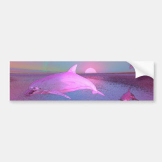 Water Fantasy Flying Dolphins Bumper Sticker