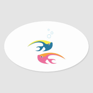 Water Fish Oval Stickers
