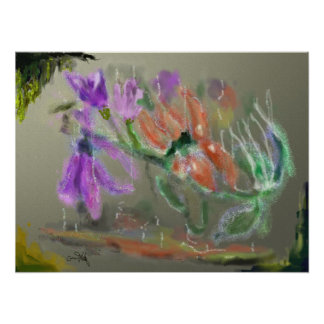 Water Flowers - Digital Abstract Painting Poster