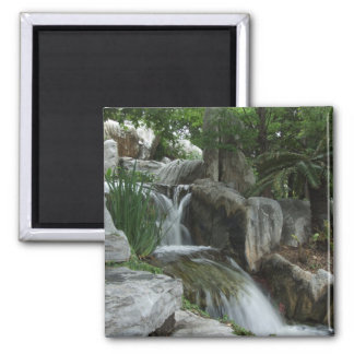 Water Flowing Through The Stones 2 Inch Square Magnet