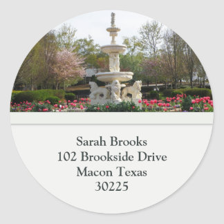 Water Fountain Address Labels Classic Round Sticker