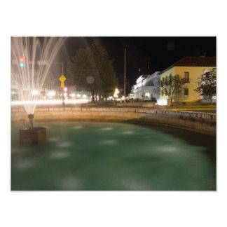 Water fountain and Bathhouse Row, Hot Springs, AR Photo Print