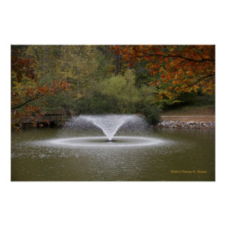 Water Fountain in a Lake Poster