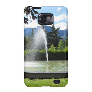 Water fountain with mountain background galaxy s2 case