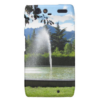 Water fountain with mountain background droid RAZR case