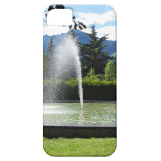 Water fountain with mountain background iPhone 5 cases