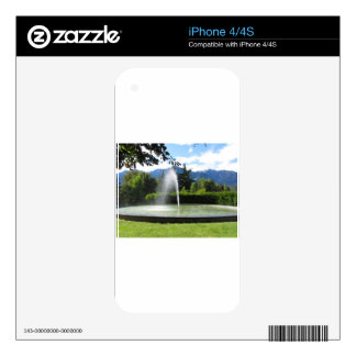 Water fountain with mountain background decals for the iPhone 4S