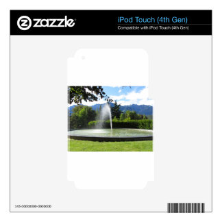 Water fountain with mountain background iPod touch 4G skins