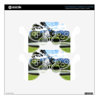 Water fountain with mountain background PS3 controller decal